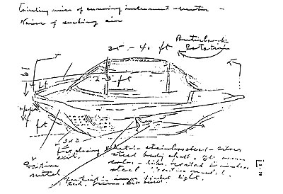 Drawing with notes by Michalak of the                           landed UFO