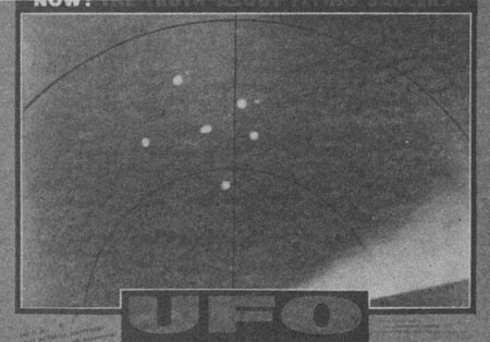 still from movie, radar scope with UFOs