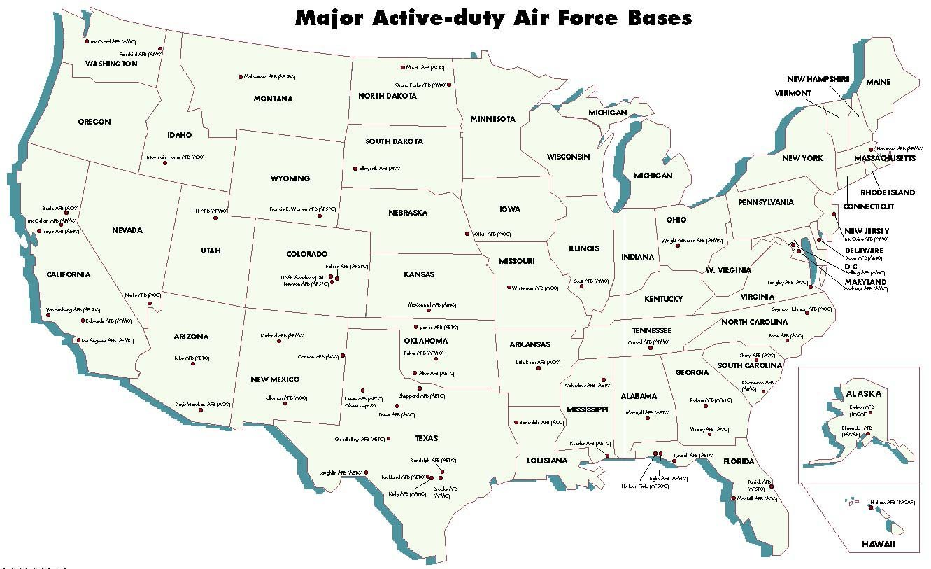 Map Of Military Installations Ranges Training Areas In The - Free us map by mail